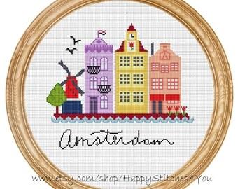 Cross Stitch Pattern PDF Amsterdam DD0070