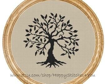 Cross Stitch Pattern PDF tree silhouette DD0157