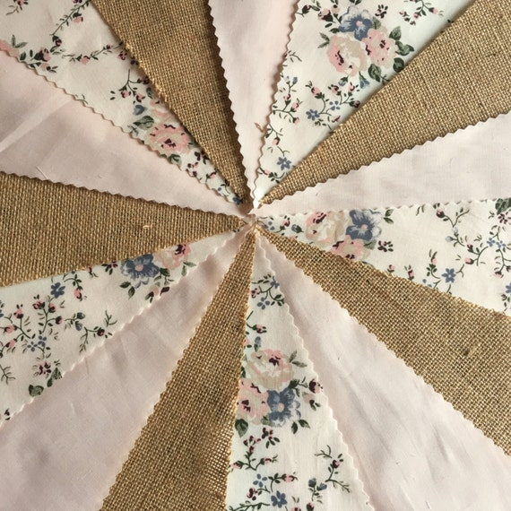 Beautiful lace handmade fabric bunting weddings,fetes,parties,choice of lengths