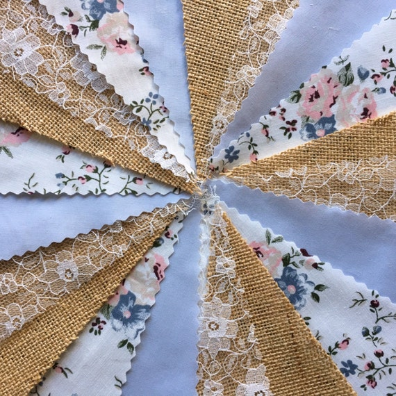 Fabric Bunting Wedding Vintage Shabby /& Chic Handmade Floral Lace 10ft