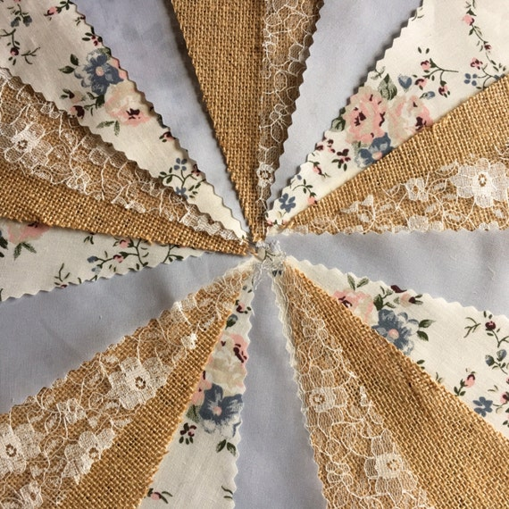 Fabric wedding bunting Hessian Ivory lace Vintage floral baby blue flags 10 mt