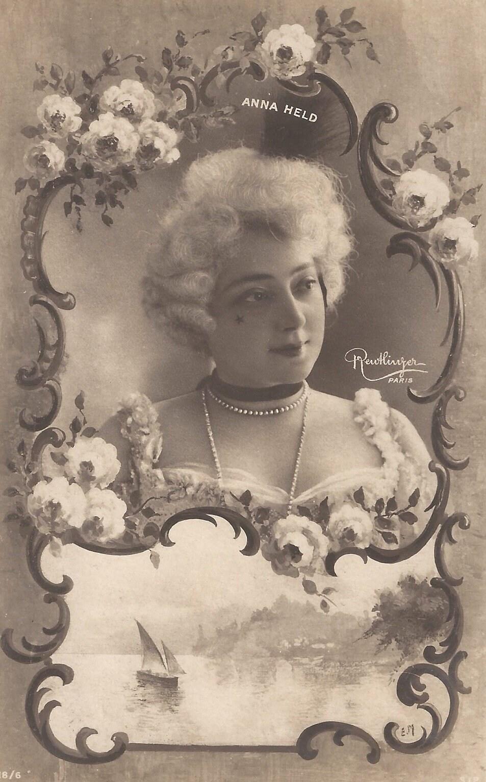 Famous Edwardian Actress Miss ANNA HELD Romantic Art Nouveau Fantasy as  Baroque ROCOCO French Lady Antique Reutlinger Postcard    Year 1904