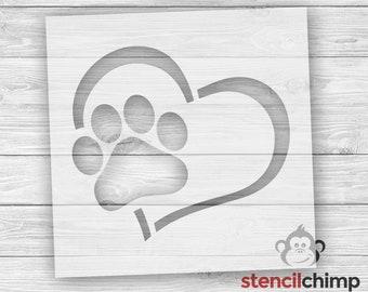d0e95eea213f1 Paw Print in Heart Stencil