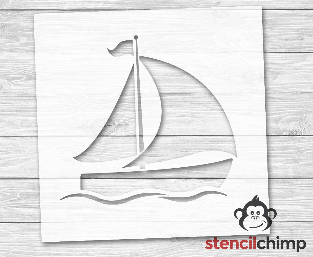 image about Free Printable Beach Stencils known as Boat Stencil Sailboat Stencil Seaside Stencil Ocean Stencil Stencil for seashore household