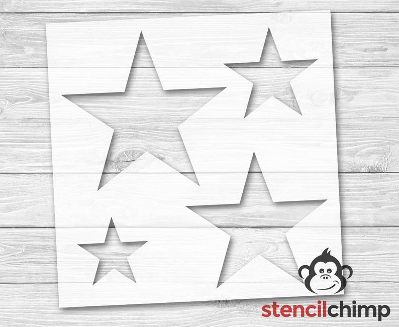 Star Stencils Stencil contains 4 stars in various sizes  image 0