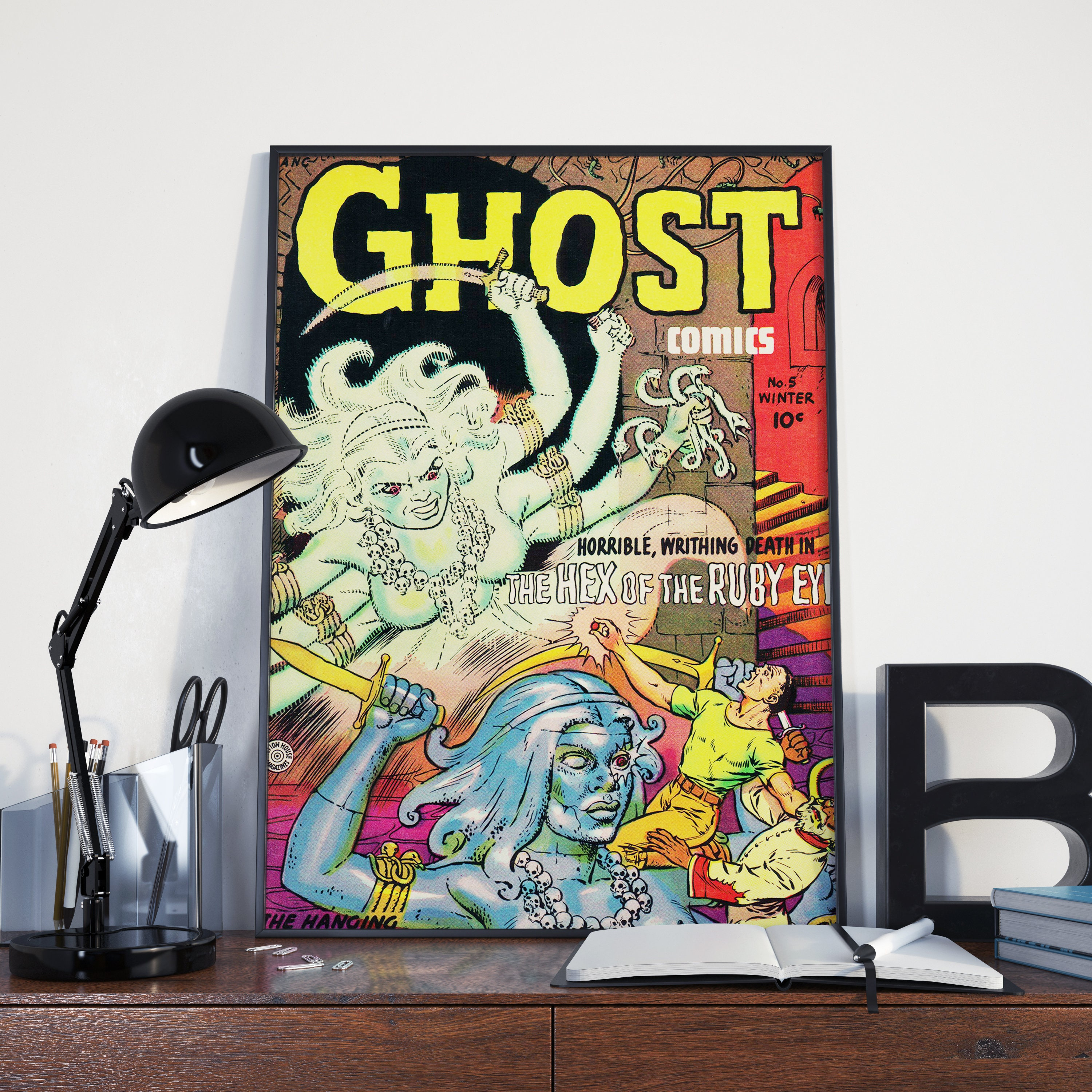 Vintage Monster Poster - Ghost Stories, Hex of the Ruby Eye Vintage Poster  or Canvas Print, Vintage Horror / Slasher