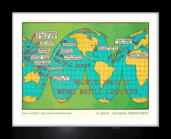 World War 2 Naval Battle Map Poster Pacific and European   Etsy