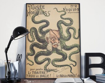 CIRCUS POSTER - FREAKSHOW Illustration, Octopus Man Vintage Art Print from 1899, Reproduction