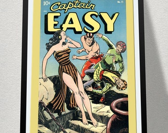VINTAGE SUPERHERO POSTER - Captain Easy.  18x24 poster, great for dorm rooms.