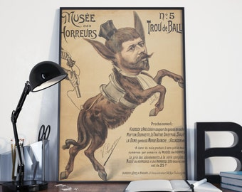 CIRCUS POSTER - FREAKSHOW Illustration #4 Vintage Art Print from 1899, Reproduction