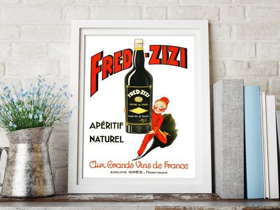 Vintage Ad Vin Zizi Français Vin Poster Ou Impression Sur Toile