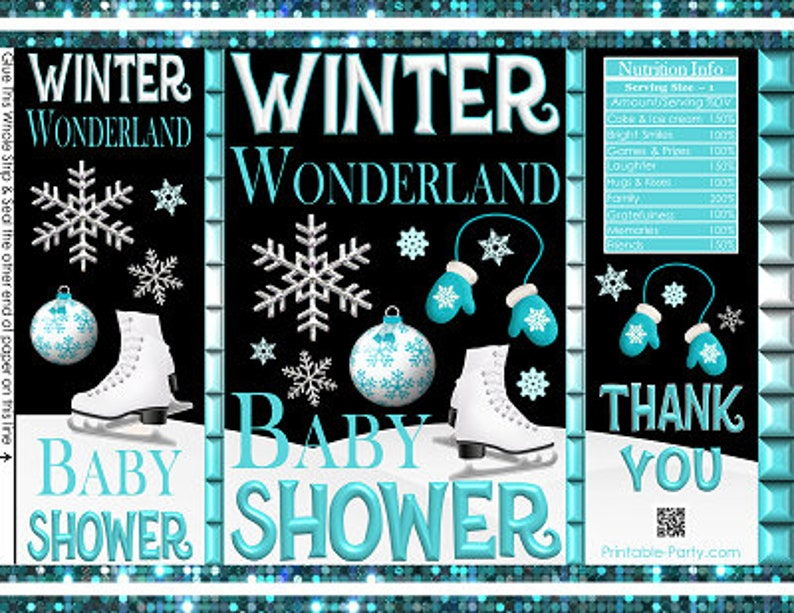 Teal Turquoise Blue Black White Favor Bags Printable Potato Chip Bags Winter Wonderland Snowflakes Baby Shower