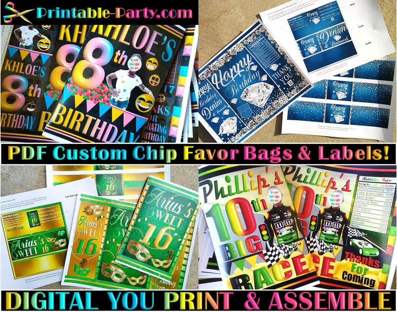 photograph regarding Printable Chip Bags called PDF Customized Chip Bag Types Customized Chip Luggage Sweet Buffet Luggage  Printable Favors
