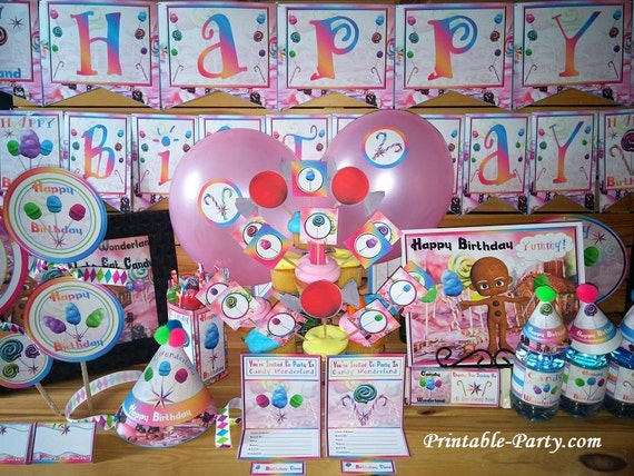 candy wonderland printable party decorations