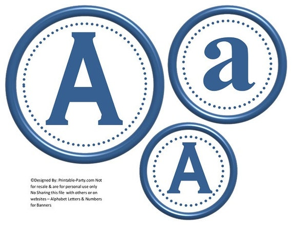 6 Inch Circle Blue Printable Banner Letters By Printable Party Com