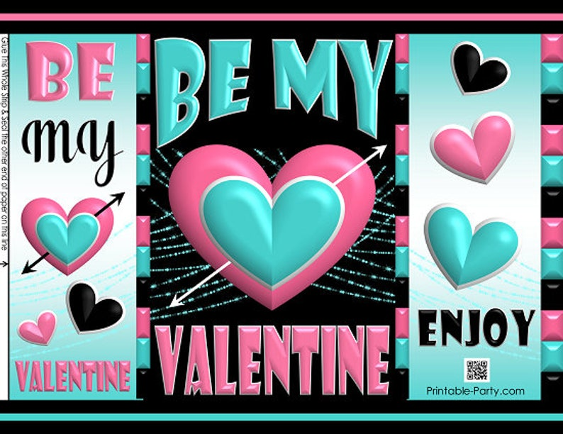 Potato Chip Bag Wrappers Printable Valentine/'s Day Treat Gift Bags Pink Teal Black