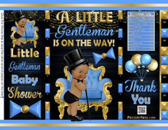 Printable Potato Chip Bags African Ethnic Little Gentleman Boy Baby Shower Favors Black Green Gold Royal Prince Bowtie