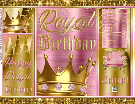 picture about Printable Chip Bags named Printable Chip Luggage Royal Birthday Red Gold Crown Princess Prince Queen King Occasion Favors Present Wrappers