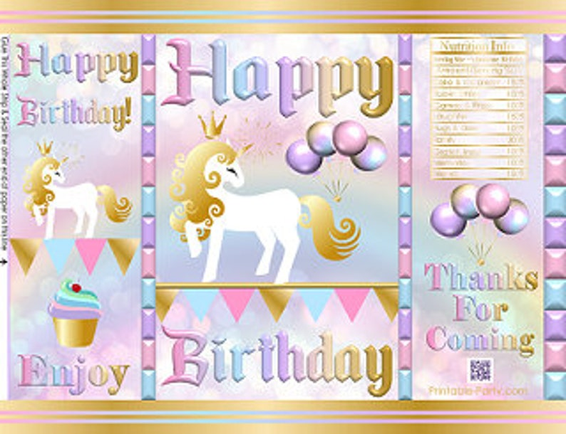 Unicorn Rainbow Themed Printable Chip Bags Birthday Instant Download Favor Bags