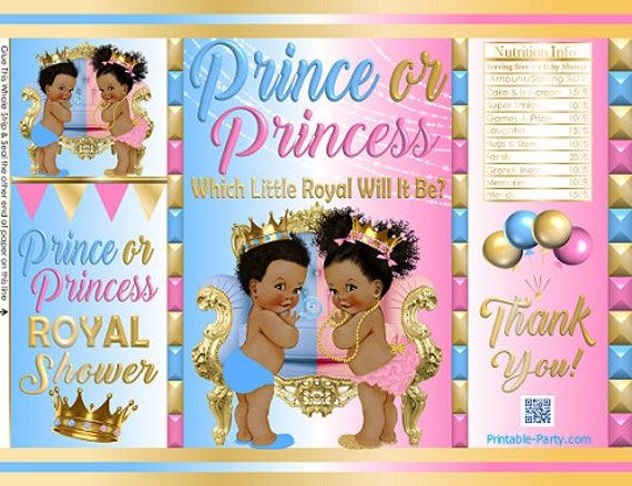 Printable Potato Chip Bags African Ethnic Royal Gender Reveal