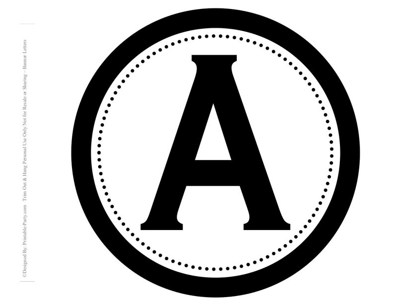 8x8 Inch Circle Black Printable Banner Letters Etsy