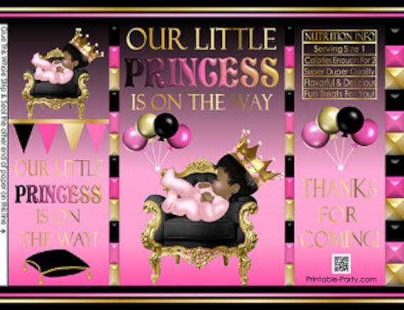 Fushia Pink Black Gold Crown Printable Potato Chip Bags Tutu Princess Royal Girl Baby Shower Favors