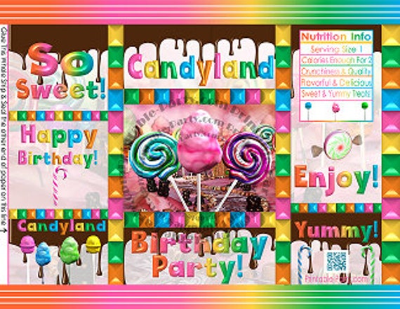 image regarding Printable Chip Bags referred to as Printable Chip Baggage Sweet Occasion Topic Candyland Birthday