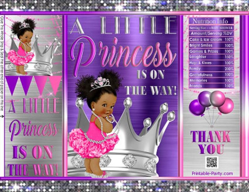 Printable Potato Chip Bags Pink Purple Silver Crown Tutu Tiara Princess Royal Girl African Baby Shower Favors