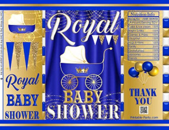 Printable Potato Chip Bags Boy Royal Prince Baby Shower Blue White Gold Party Favors