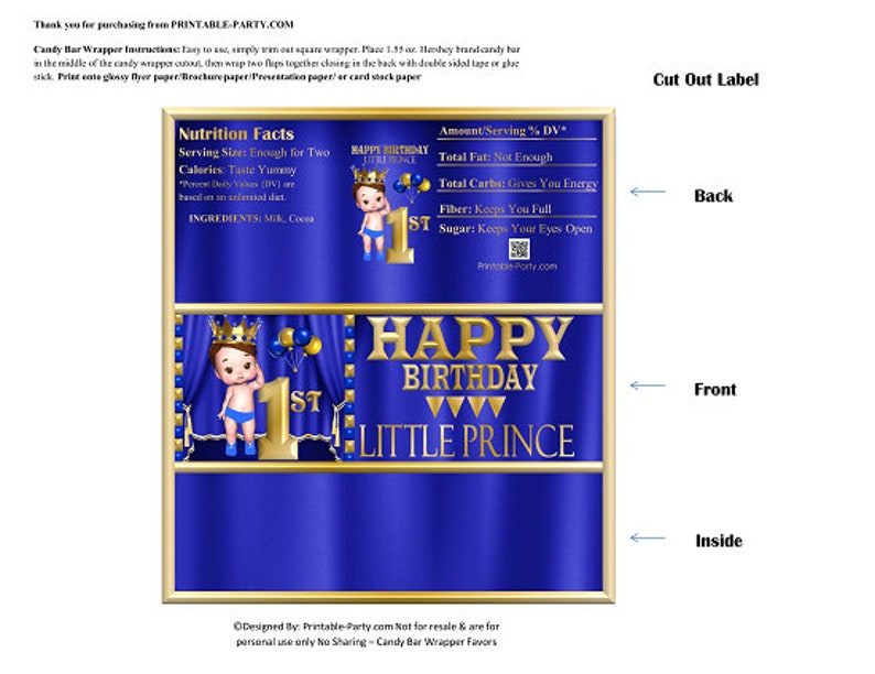 Printable Candy Bar Wrappers   Royal Prince 1st Birthday Blue Gold Baby Boy  Chocolate Bar Favor Labels   Instant Download