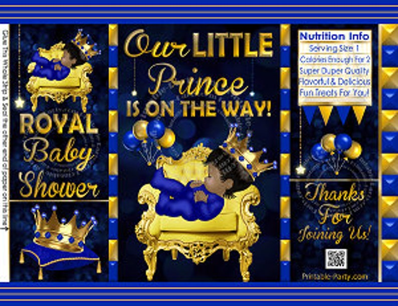 image about Printable Chip Bags identified as Printable Chip Luggage Prince Boy Chip Luggage Ethnic African Amercian  Royal Youngster Shower Printable Want