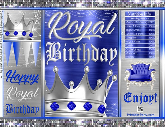 Royal Birthday Crown Prince King Blue Silver Party Favors Gift Wrappers Printable Chip Bags