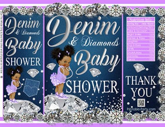 Denim /& Diamonds Baby Shower Printable Chip Bag