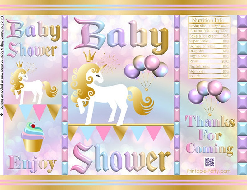 graphic regarding Printable Chip Bags identify Printable Chip Baggage Fast Obtain Choose Luggage Unicorn Themed Child Shower