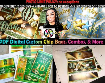 PDF Personalized Chip Bag Designs   Custom Chip Bags   Candy Buffet Bags   Printable Favors