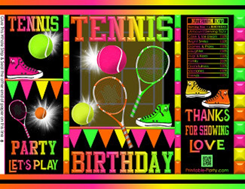 Printable Chip Bags Birthday Tennis Sports Themed Instant Download Favor Bags