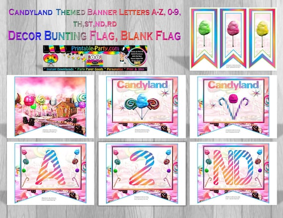 graphic relating to Candyland Letters Printable known as 9x8 Inch Candyland Topic Printable Banner Letters A Towards Z - 0