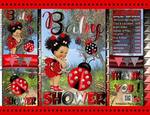 YOU print Not Instant White ~ Polkadots ~ Digital Download ~ I DESIGN LadyBug BIRTHDAY Chip Bag Treat Bag ~ Red Lady Bug Black
