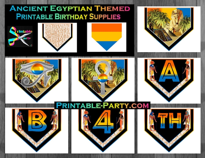 Printable Ancient Egyptian Birthday Party Supplies Etsy