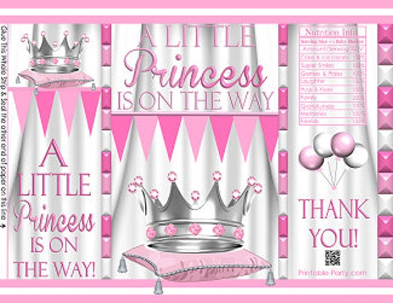 Royal Birthday Crown Princess Pink Fushia Silver Party Favors Gift Wrappers Printable Chip Bags