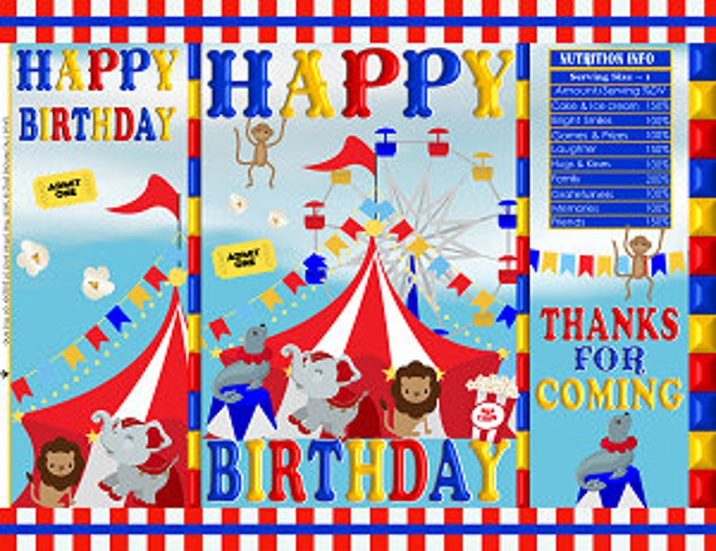 Printable Potato Chip Bags Carnival Circus Tent Birthday Party Red Blue Yellow Favors