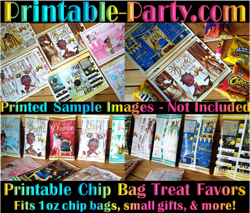 Printable Potato Chip Bags African American Royal Princess Pink Gold Twinkle Little Star Baby Shower