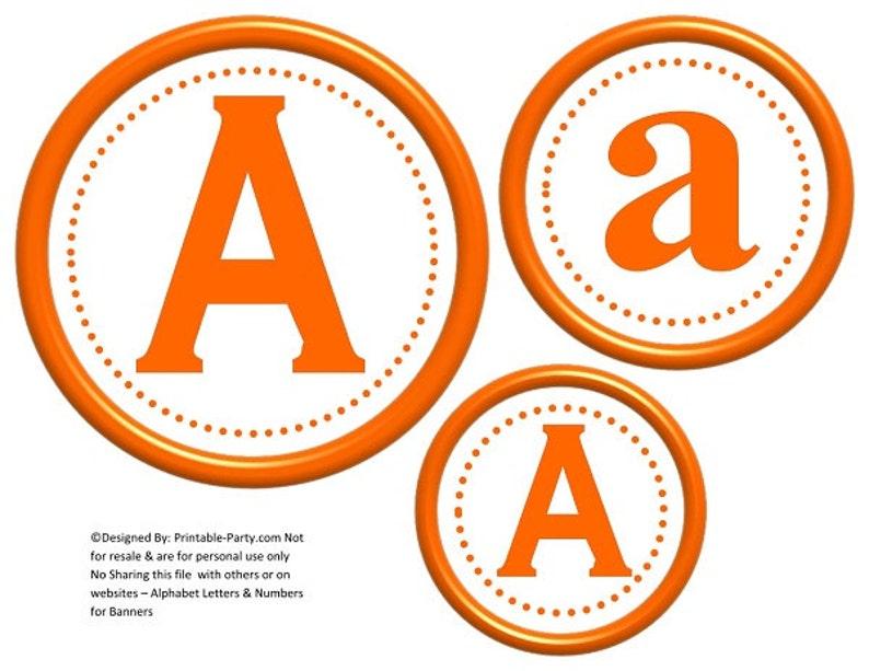6 Inch Circle Orange Printable Banner Letters Etsy