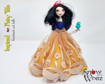 Snow White Doll   9 Inch Handmade OOAK Fairy Tale Princess Art Doll with Bird   FREE Shipping!
