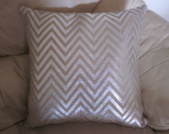 Metallic Silver / Hessian Chevron Design Cushion