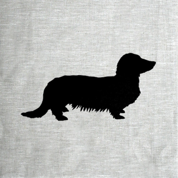 long haired dachshund dog silhouette hand screen printed pure etsy