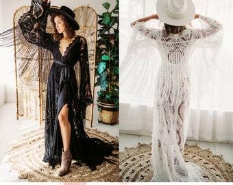 Luna Robe - Flutter Dress vintage-inspired lace- BOHO Dress