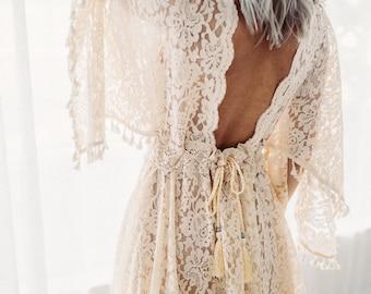 PRE ORDER -Beige Clover BOHO  Dress - vintage lace dress for photographers- Beige Clover Dress*