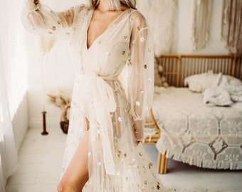 Star Robe - Preorder - BOHO Dress - Black or Beige