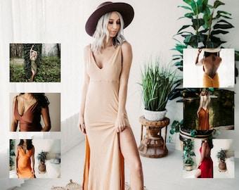 Flutter Dress Slip * Dress Backless, Deep V , Dress, Sleeveless